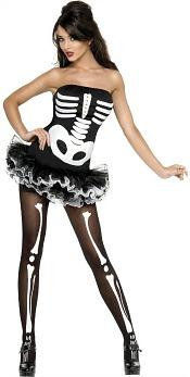 Skeleton Tutu Costume Ladies