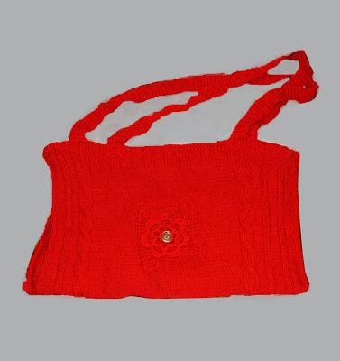 geanta handmade rosie tricotata cu floare crosetata