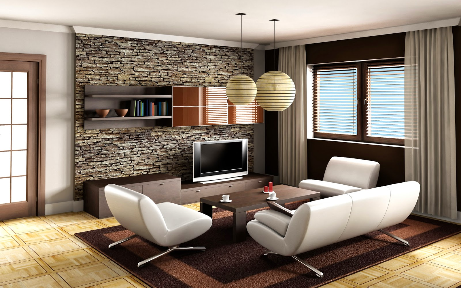 2 living room decor ideas brown leather sofa home for Brown wallpaper ideas for living room