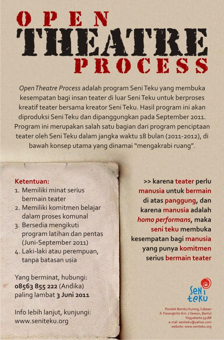 Program Open Theatre Process Seni Teku