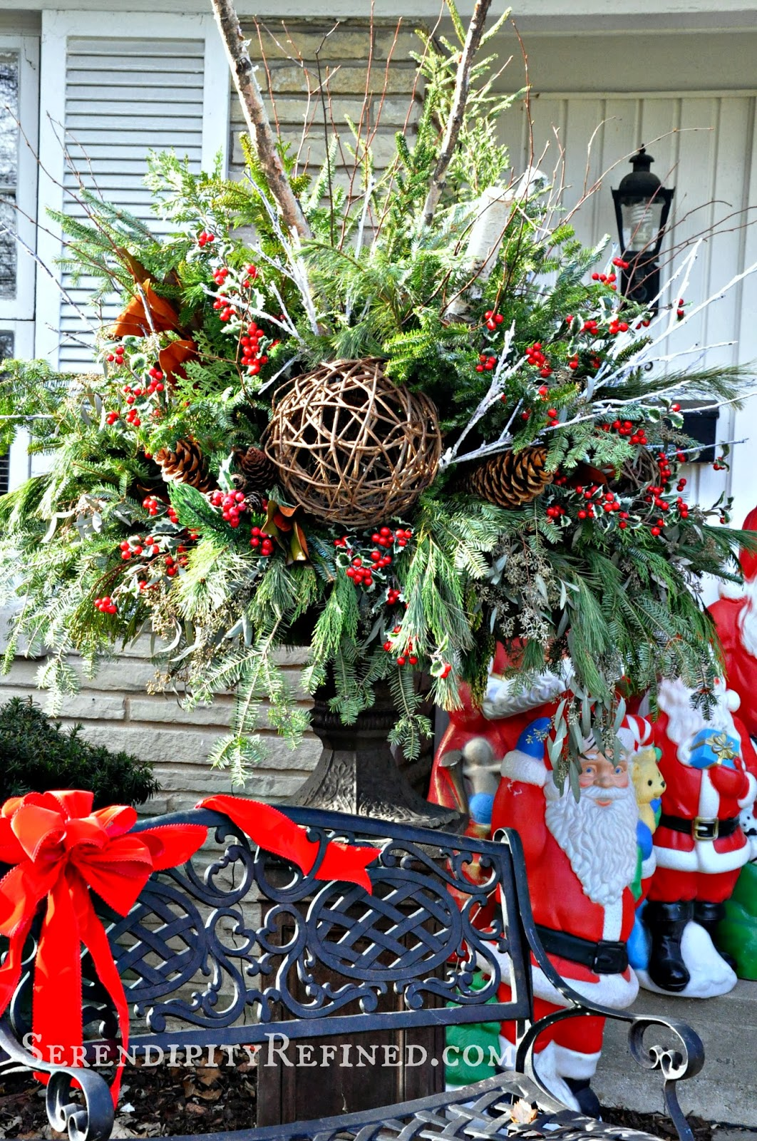 Christmas Front Porch And Urn Planter The First Snowfall At French Farmhouse