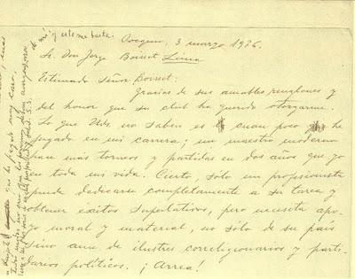 Carta manuscrita de Esteban Canal a Jorge Boisset, parte 1