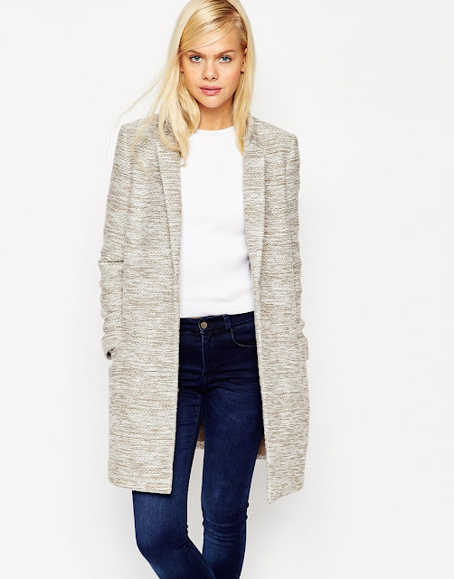 asos beige fitted coat, slim fit beige coat,