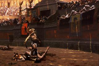 Moartea gladiatorului, degetul îndreptat în jos