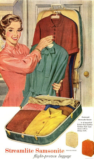 retro luggage vintage ad Samsonite Just Peachy, Darling