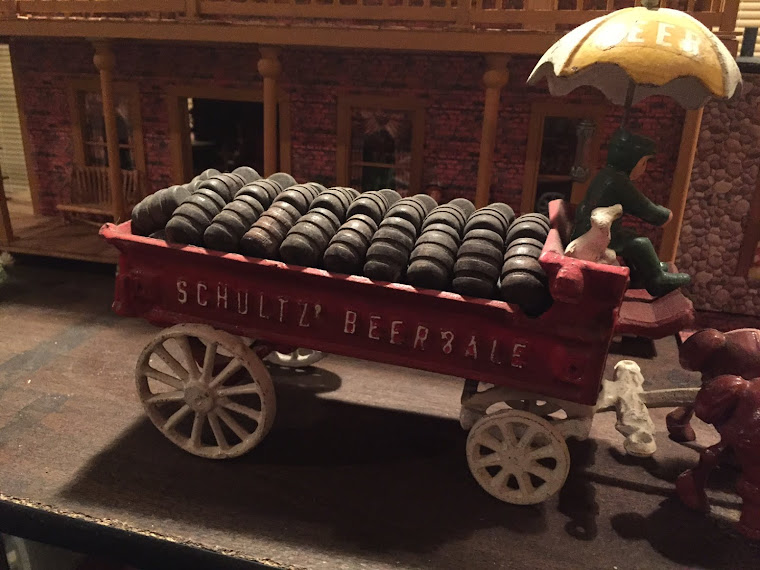 Antique Vintage Cast Iron Beer Wagon ~