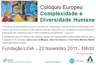 Fotografia pomocional do colquio europeu Complexidade e Diversidade Humana