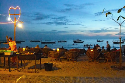 At the Ochheuteal beach side in Sihanoukville in the evening
