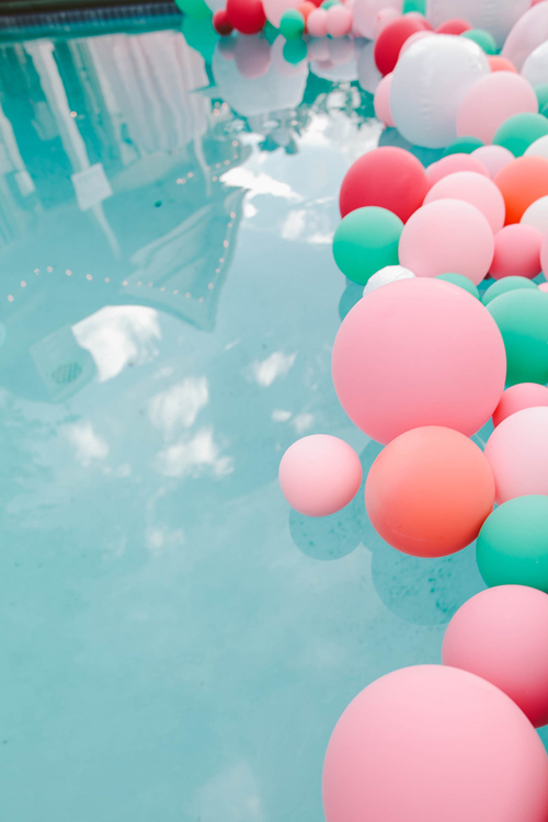 balloons in the pool at your party