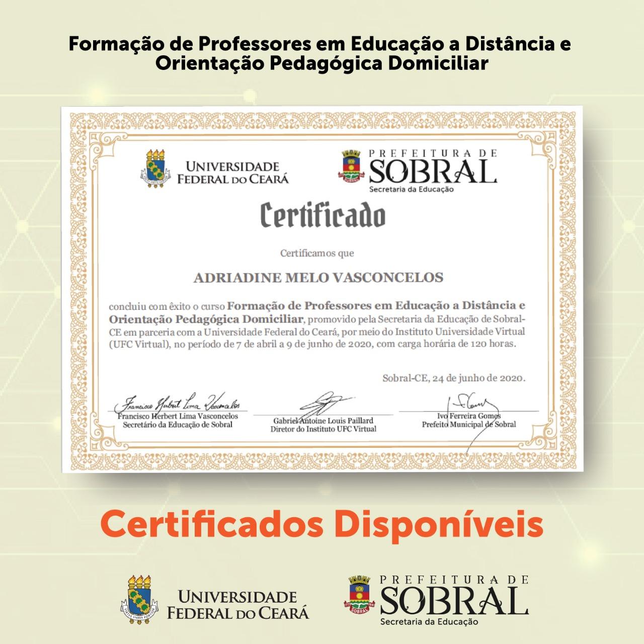 Certificado Curso de Professores em EAD