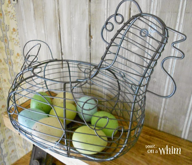 Egg Basket with Speckled Eggs  | Denise on a Whim