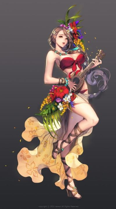 Gwon Yun Jeong lovecacao illustrations fantasy women beautiful sexy Song and dance