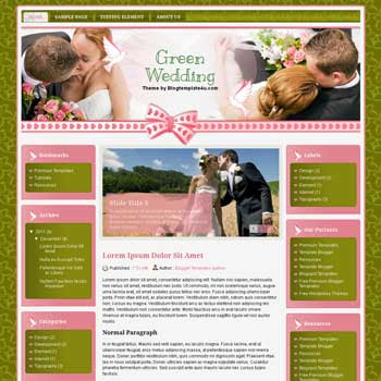 Green Wedding Blogger Template. free wedding blogger template