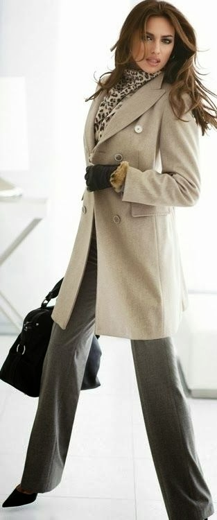 Adorable Beige Trench Coat, Leopard Scarf and Black Handbag Combination for Fall and Winter