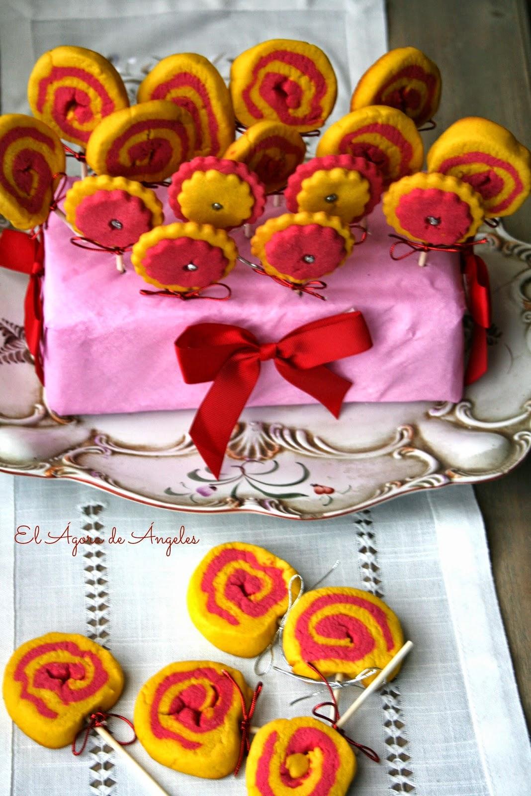 piruletas de galleta, galletas de mantequilla, galletas espiral, cumpleaños