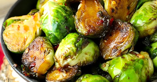 Pan Fried Brussels Sprouts with Sweet Chili Sauce