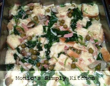 resep savory bread pudding bayam tuna jamur