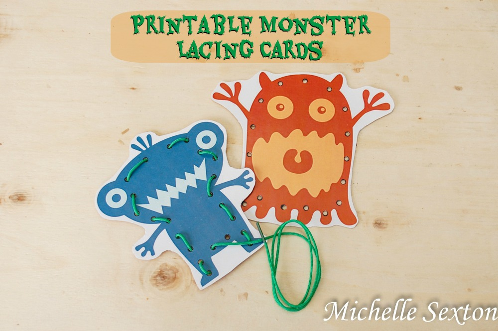 Make these Printable Monster Lacing Cards from SoHeresMyLife.com