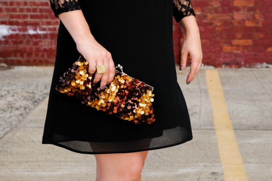 Forever 21 black dress, bag from TJ Maxx
