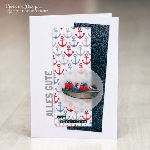 Birthday boat card by Christine Drogt using SEAson's Greetings Stamp set by Newton's Nook Designs