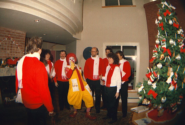 The Stairwell Carollers with Ronald at Ronald McDonald House 1986
