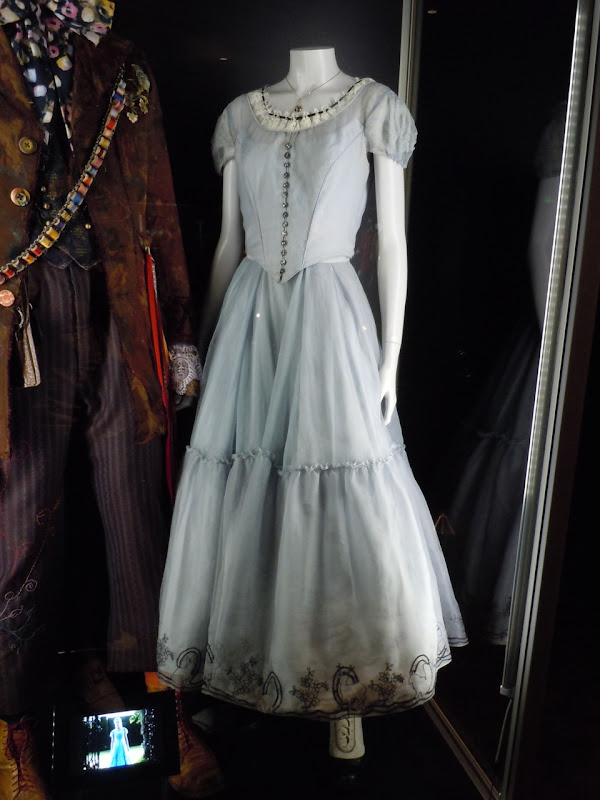 Blue silk Alice in Wonderland dress