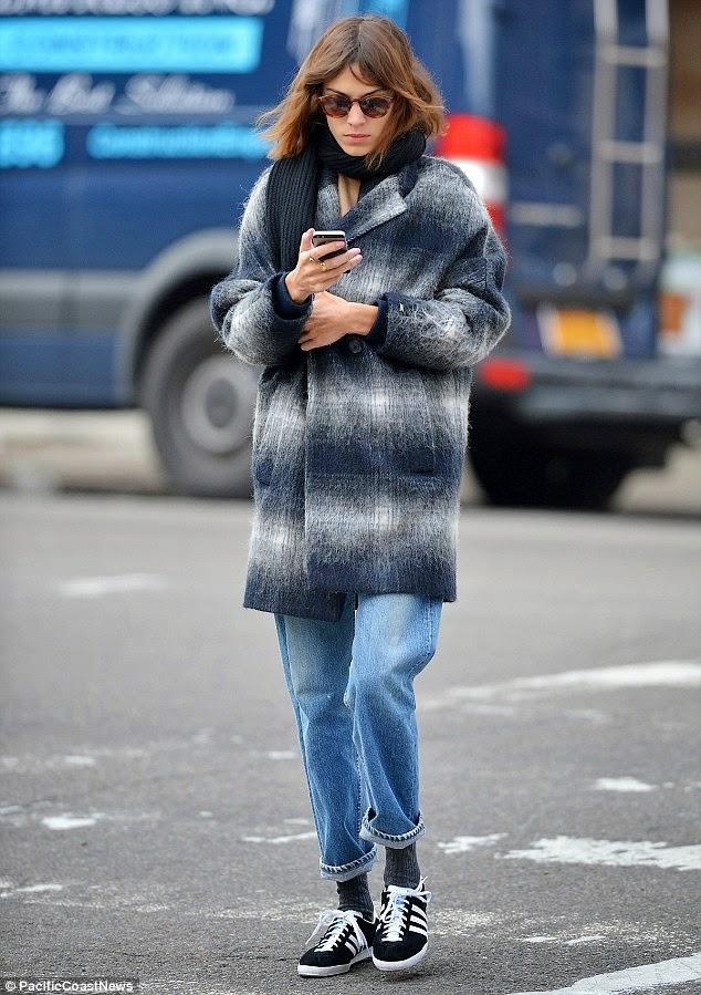 Alexa Chung Wears a Plaid Coat & Boyfriend Jeans in NYC - The ...