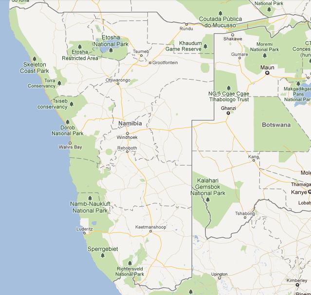 carte de namibie, république de namibie