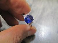454:中古 青いサファイア 2ctup PT900 リング #10