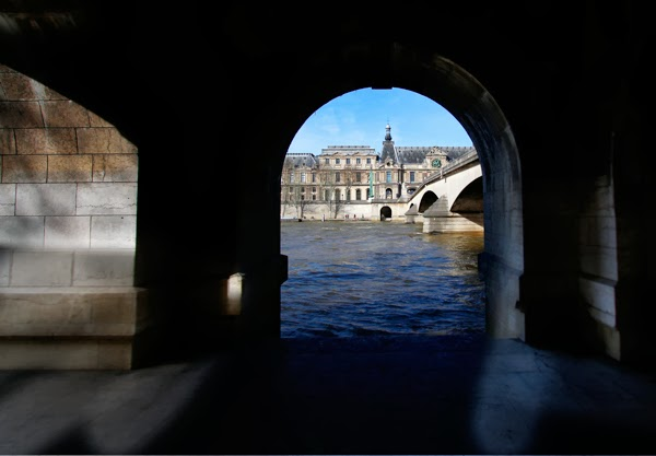 The Louvre Palace from under Pont du Carrousel