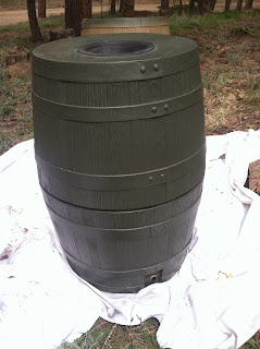 Stage one of the project - plastic, unpainted rain barrels