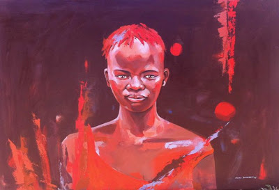 nicole sanderson acrylic on canvas african portrait commission paumzinda safari lodge zimbabwe