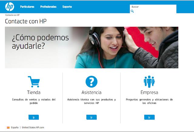 Captura del sitio web de asistencia técnica de HP en España