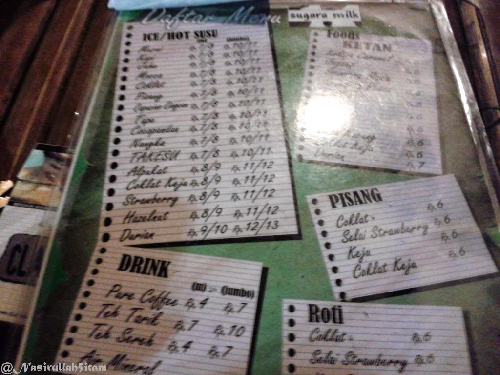 Daftar meja dan menu di Sugara Milk