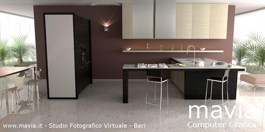 Arredamento di interni vray rendering 3d ambientazione virtuale 3d cucina moderna per - Mattonelle pavimento cucina ...