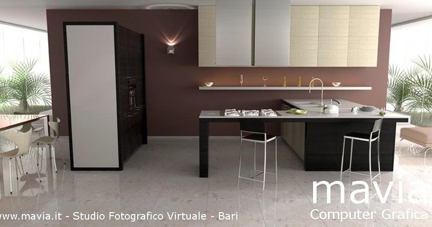 Arredamento di interni vray rendering 3d ambientazione - Mattonelle per cucina moderna ...