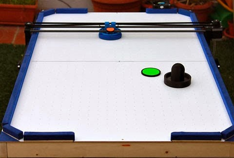 Robot Air Hockey - with ideas for one-switch air-hockey and eye-gaze air hockey.