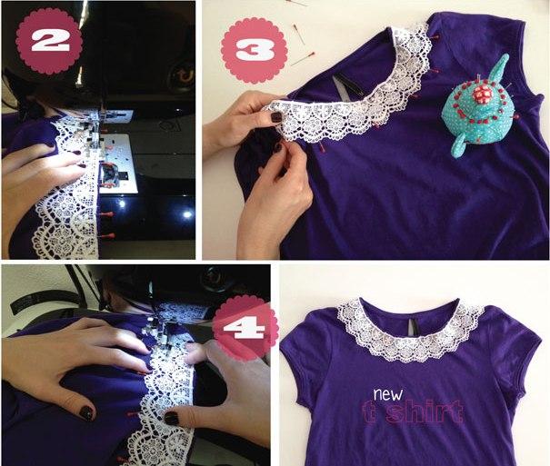 Как украсить однотонную футболку своими руками 661
