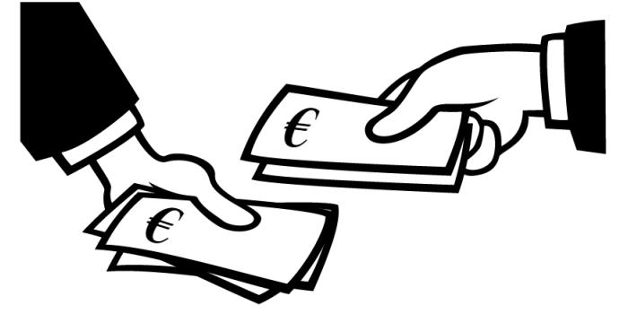 mains qui s'échangent de l'argent en euros (dessin)