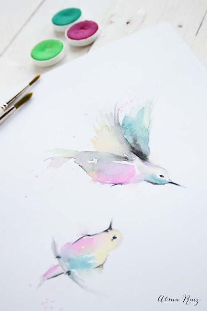 Dibujo pintado con acuarela