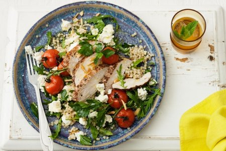Pepper chicken and pearl couscous salad with Persian feta