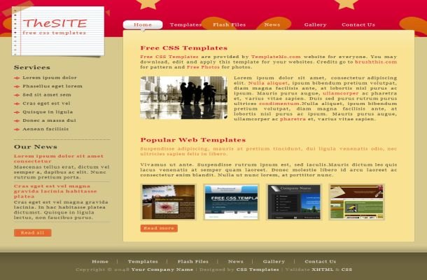 Free Red Brown Stars HTML CSS Website Template