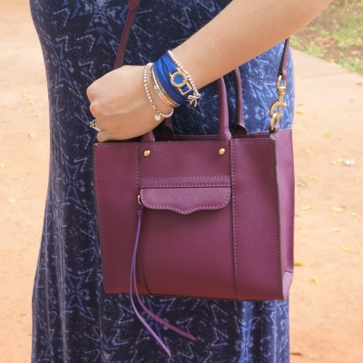 Away From Blue |  Rebecca Minkoff mini MAB tote in plum purple with blue maxi dress