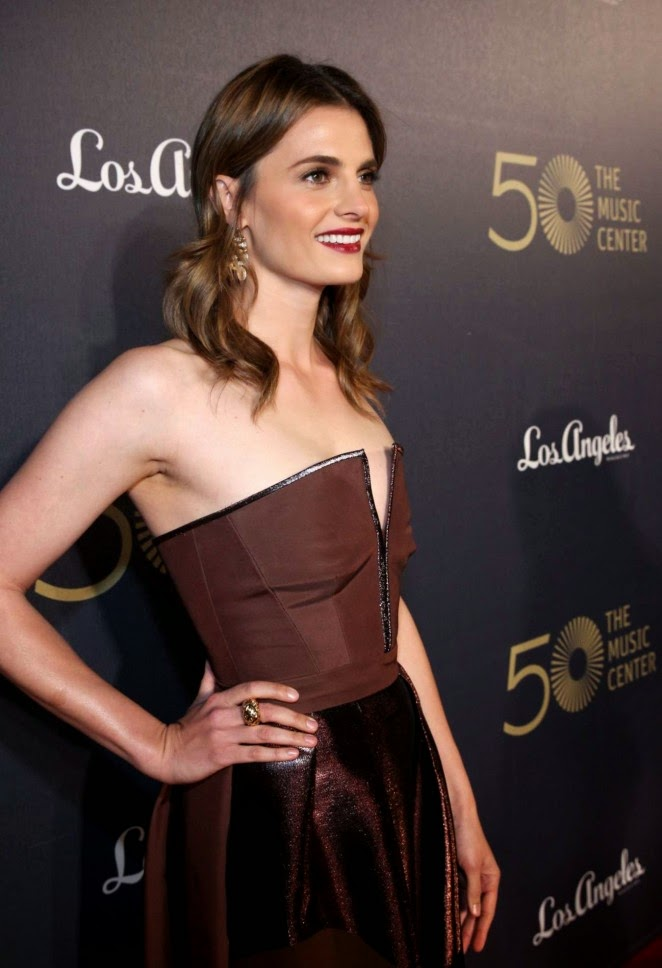 Stana Katic in an Alberta Ferretti gown at The Music Center's 50th Anniversary Spectacular in LA