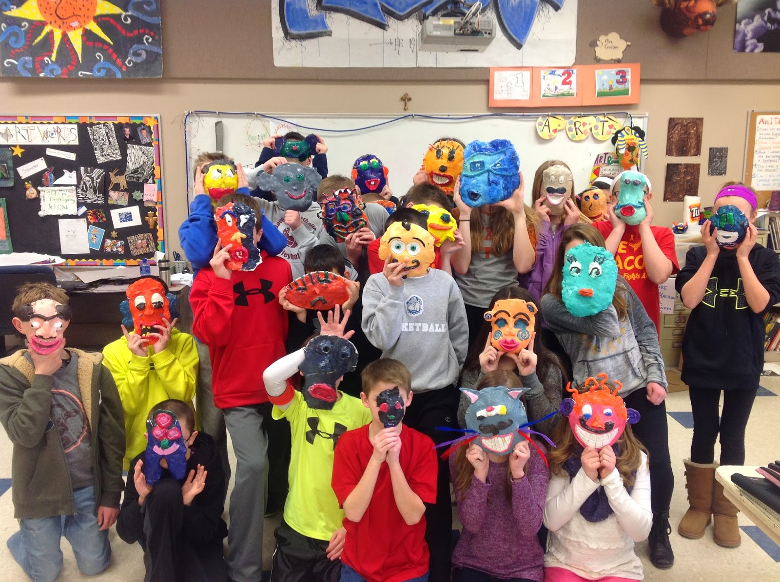 Sixth Grade Clay Mask Art Lesson- Class Photo