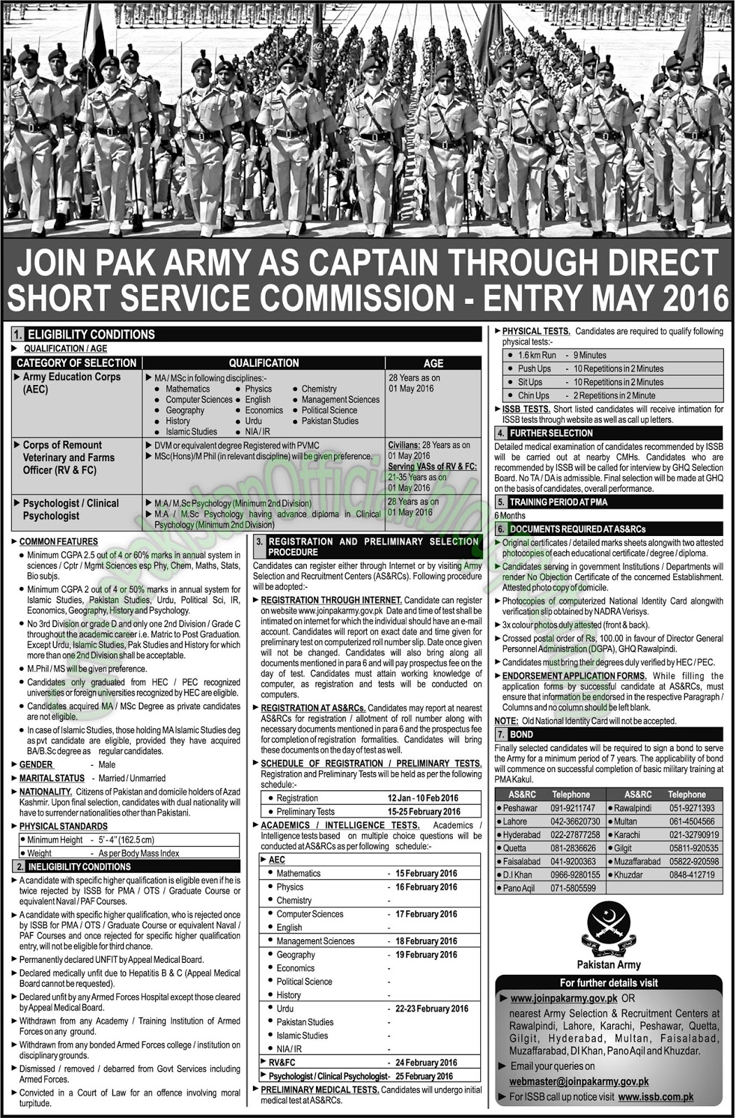 Pakistan army jobs in rawalpindi islamabad