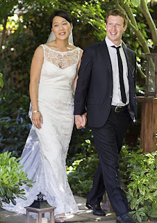Priscilla Chan and Mark Zuckerberg in bridal dress