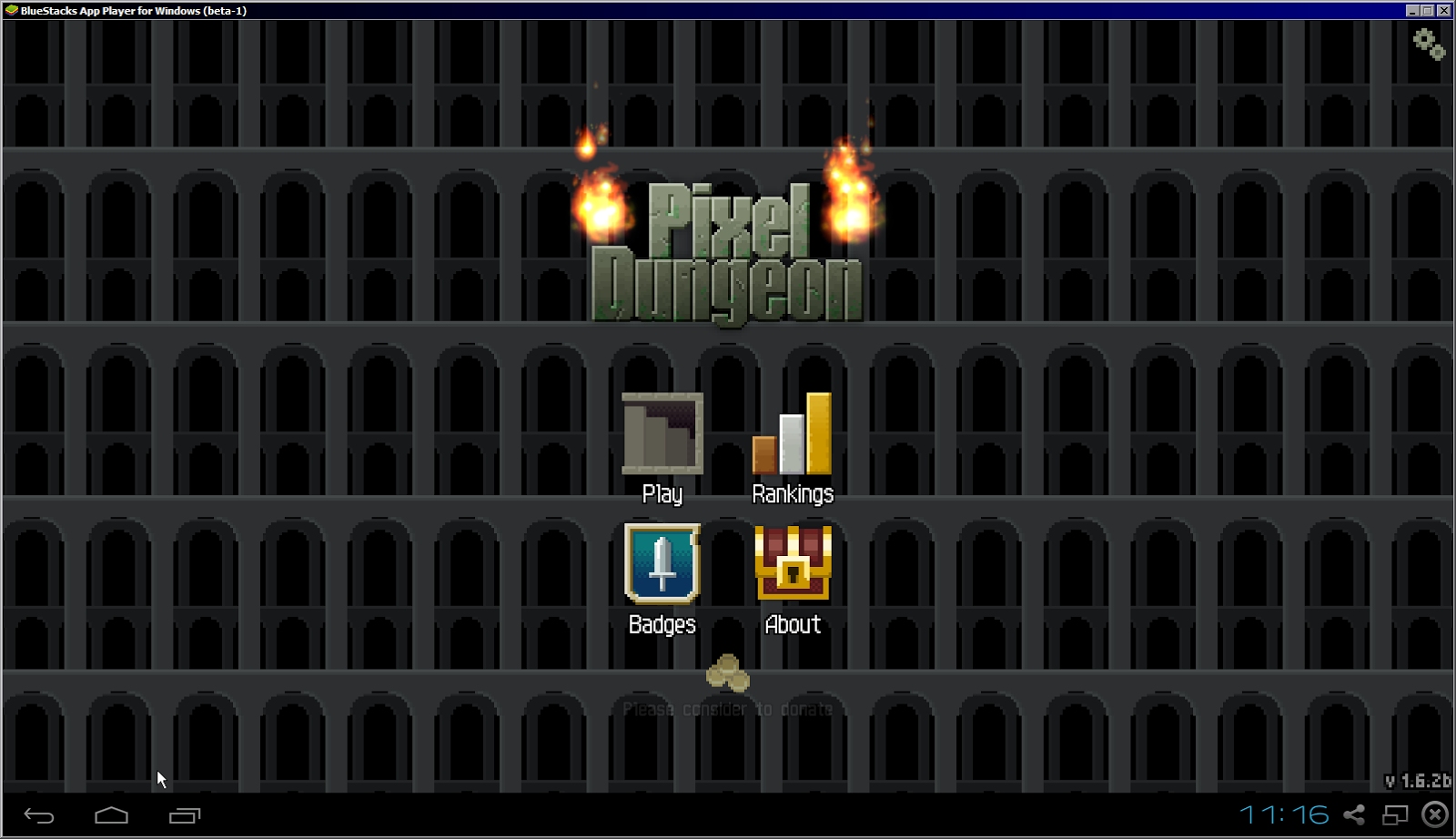 Pixel Dungeon title screen