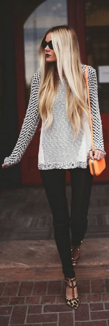 White and black lined sweater, black skinnies and cheetah print sandals
