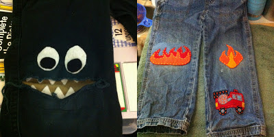 monster patch flames iron on